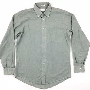 Christian Dior Button Down Shirt Mens 15 1/2 Green
